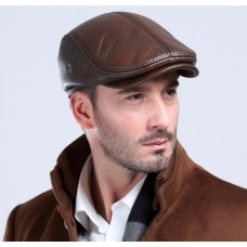 Classic Genuine Leather Beret Cap