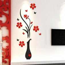 3D Vase and Flowers for Wall Decor